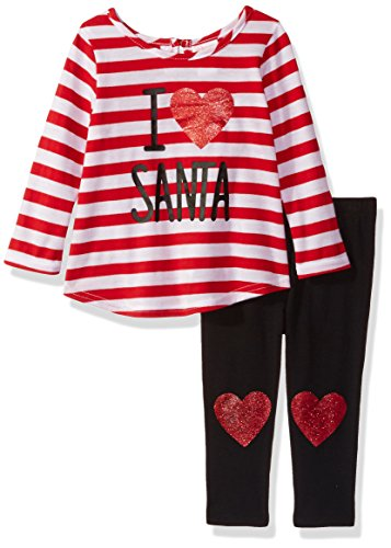 Youngland Toddler Girls' 2 Piece Santa Suit Dress and Legging Set, Red/White/Black, 3T