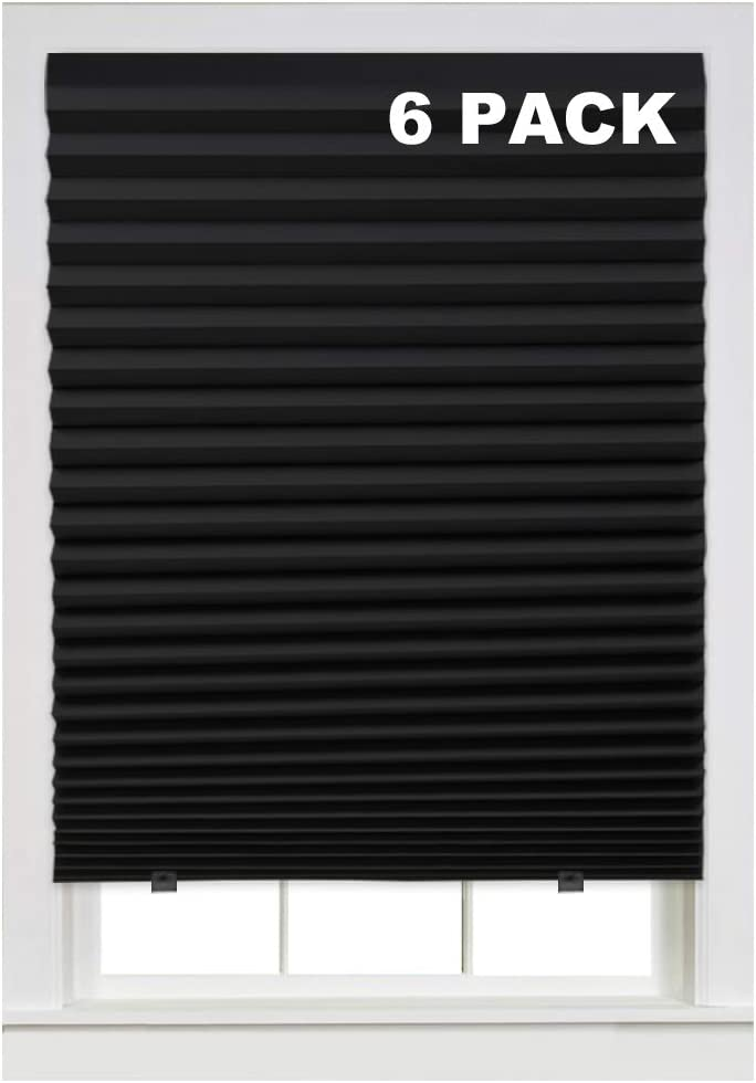 Turquoize Instant Blackout Temporary Pleat Paper Shades, Black, Quick Fix & Easy to Install, 36