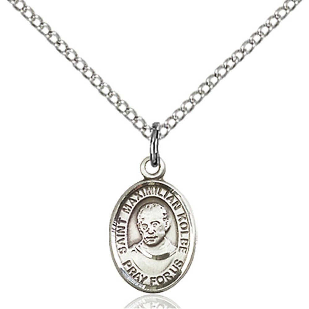 Bonyak Jewelry St Maximilian Kolbe Hand-Crafted Oval Medal Pendant in Sterling Silver