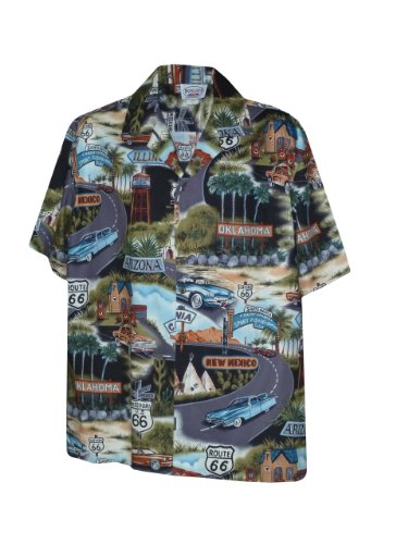 (Pacific Legend Mens Route RT 66 Travel States Shirt in Black - 3X)
