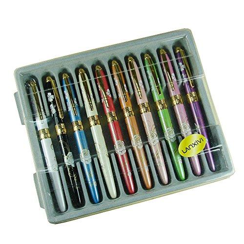Lanxivi Cloisonne Flow10 PCS Liseur 611 Cloisonne Painting Fountain Pen Diversity Color ()