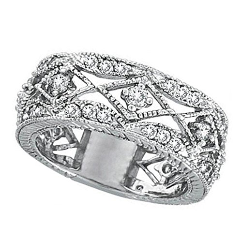 - Antique Style Diamond Ring Filigree Band in 14k White Gold (1.00ct)