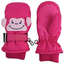 N'Ice Caps Little Kids Squeaky Sound Cute Animal Face Waterproof Mittens