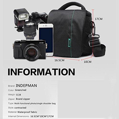 Nylon ligero cámara mensajero bolsa digital fotografía bolso portátil bandolera herramientas fotográficas Pack para Nikon Canon y otros SLR cámara H17 x L16.5 x T10 cm , Red Green