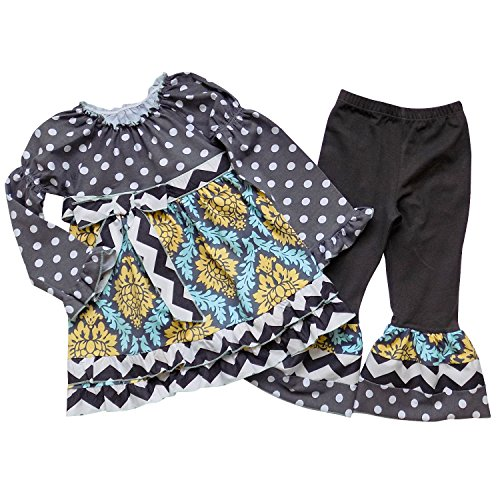 So Sydney Toddler & Girls Long Sleeve Ruffle 2 Pc Boutique Outfit, Top & Pants (90 (2T/3T), Polka Dot Gray & Turquoise Blue) ()