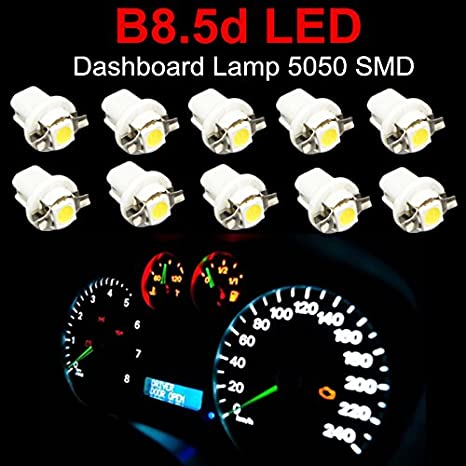 WLJH 10 pcs T5 LED Dashboard B8.5D 509T T5 5050 1SMD Automotive Car Lights Bulb for Auto Instrument Indicator Light C5W Interior Dashboard White