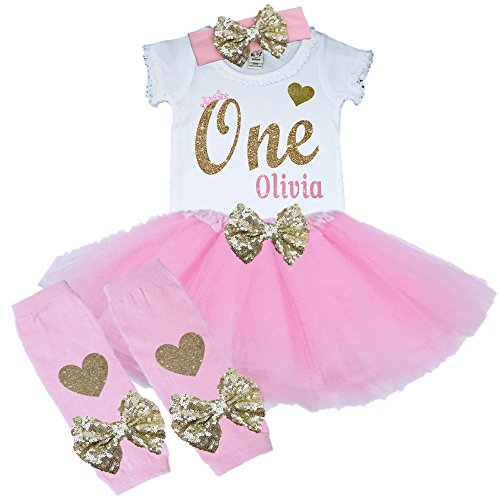 Bella Fashion Kidz Girl First Birthday Tutu Outfit Pink and Gold Personalized 1st Glitter Dress Set (12 Month, 3 Piece Set) ()