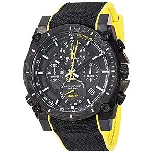 Bulova Men's Stainless Steel Quartz Sport Watch with Rubber Strap, Black, 22.1 (Model: 98B312)