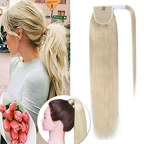 100% Remy Human Hair Wrap Around Ponytail Hair Extension Straight One Piece Wrap Pony Tail Hairpiece for Woman #60 Platinum Blonde 18 inches 90g