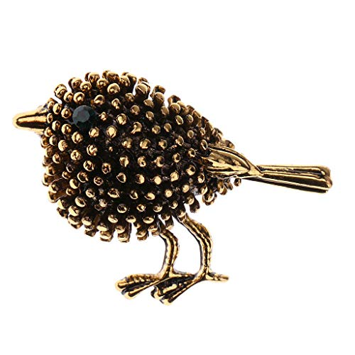 Fashion Women Rhinestone Crystal Flower Animal Bee Brooch Pin Jewelry Party Gift (Color - Ancient Gold Bird Diamond Broo.) ()