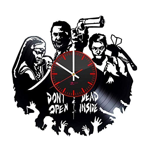 (Walking Dead HANDMADE Vinyl Record Wall Clock - Get unique living room wall decor - Gift ideas for adults and youth - Horror Movie Characters Unique Modern Art)