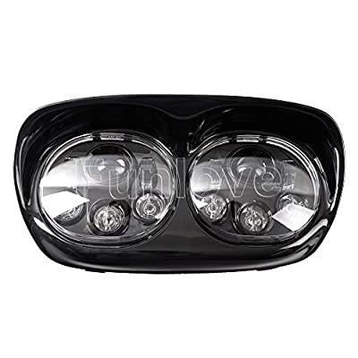 Funlove Projector Dual LED Headlight for Harley Davidson Road Glide 2004-2013: Automotive