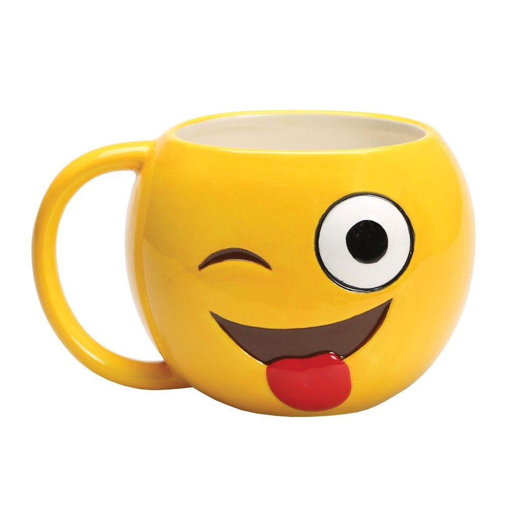 Smiley Face Coffee Mug Amazoncom Emojicon Winky Face Emoji Ceramic Coffee Mug With Lol