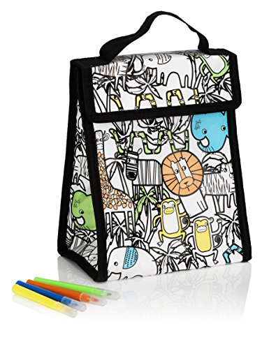 NPW NP31829 Wipe-Off Scribble Lunch Bag and Marker Set, Medium, Animals