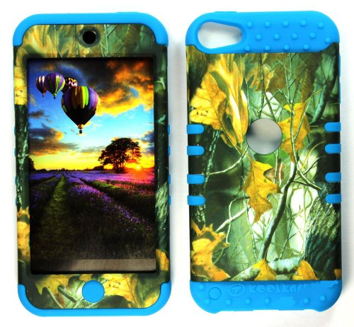 CellPhone Trendz Hybrid 2 in 1 Case Hard Cover Faceplate Skin Blue Silicone and Camo Mossy Hunter Dry Leaves Snap Protector for Apple iPod iTouch 5 (5th Generation)