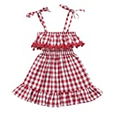 Kingspinner Girl Princess Dress Sleeveless Condole Belt Tassel Plaid Skirt Patry Beach Dresses 1-4 Years (Red, 6-12Months)
