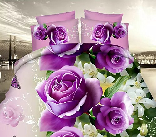 3D Purple Rose Bedding Set Comforter Duvet Cover Polyester Bedclothes Queen Size 4Pcs