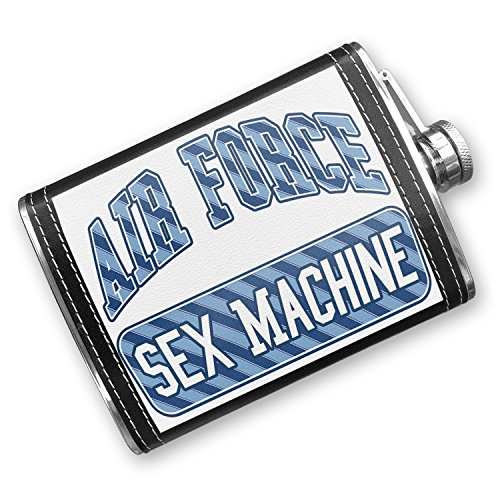 8oz Flask Stitched Air Force Sex Machine, Blue stripes Stainless Steel - Neonblond by NEONBLOND