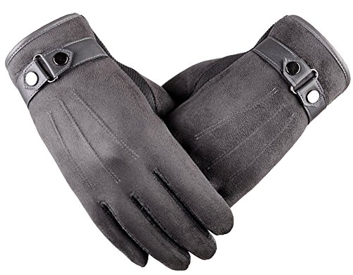 WmcyWell Men's Solid Warm Suede Touchscreen Gloves Winter Texting Gloves, Small, Grey - Grey Suede Print