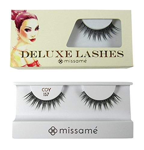 Missamé COY Deluxe Professional False Eyelashes Set Handmade with Premium Synthetic Fibers, Black, 1 Pair
