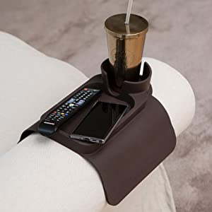Silicone Cup Holder Tray for Arm Chair Couch Caddy Sofa Recliner - Anti-Slip Armrest Remote Control and Cellphone Organizer Holder (02. Brown)