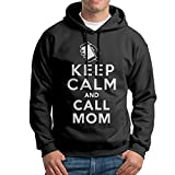 XiaoTing Mens Keep Calm and Call Mom Funny Travel Black Hoodies