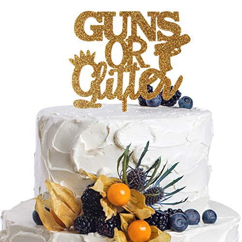 Guns or Glitter Gold Acrylic Cake Topper Gender Reveal Boy or Girl Funny Party Gift Ideas Decoration.