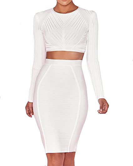 a2afc3d0c3 UONBOX Women's Long Sleeves 2 Pieces Set Crop Top Midi Skirt Party Bandage  Dress White XS