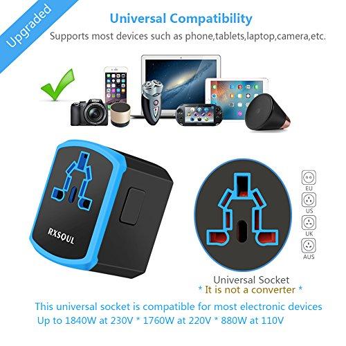 Universal Power Travel Adapter,RXSQUL International Power Adapter Smart 2.4A 4 USB, European Adapter Converter,Plugs Adapters Europe, Canada, UK, US, AU, Asia-Blue by RXSQUL (Image #2)