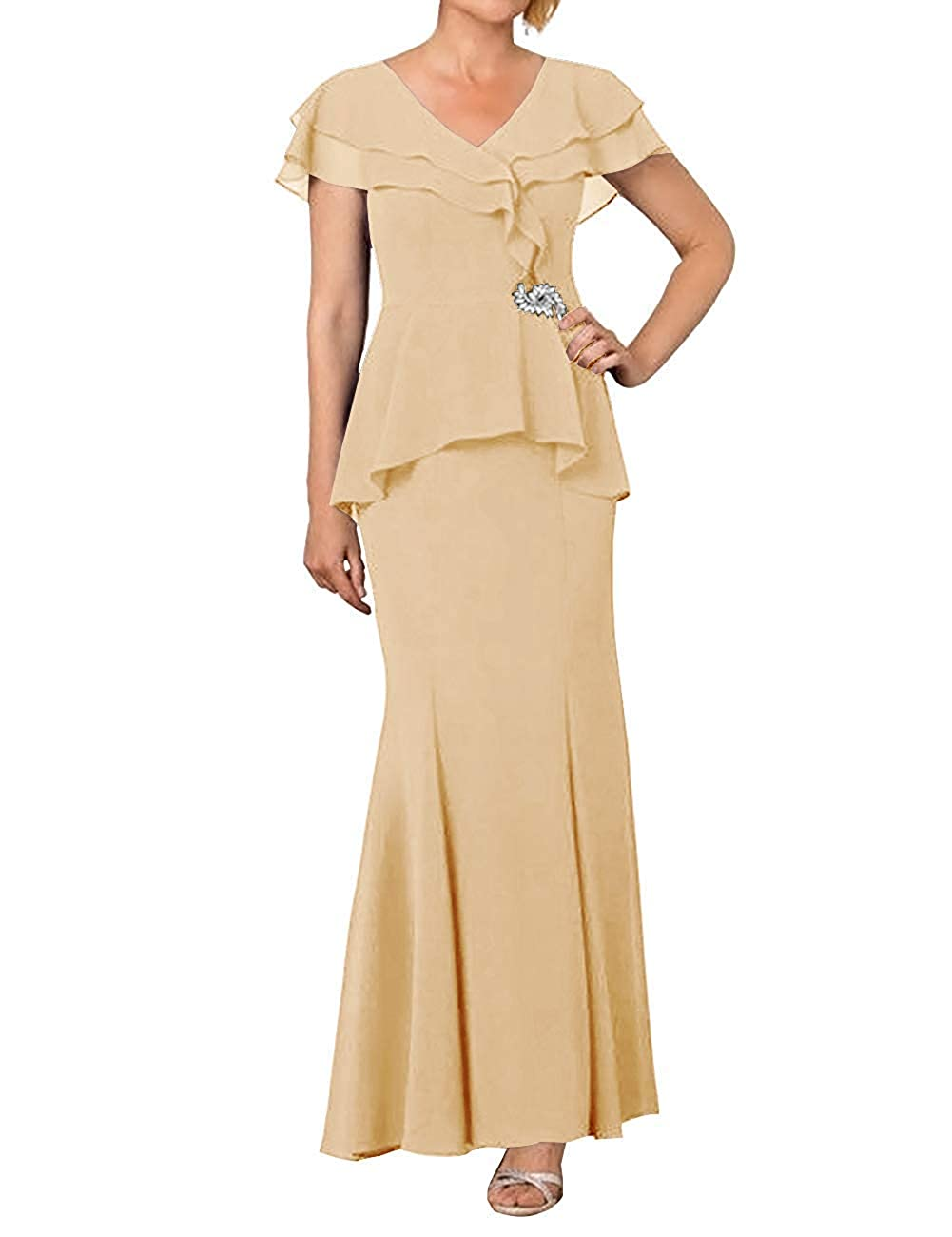 Champagne ZLQQ Womens Mother of The Bride Dress 2019 Cap Sleeve V Neck Formal Evening Gown
