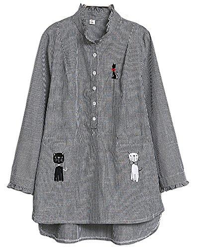 Cotton Blend Blouse (HOOBEE LINEN Women's Long Sleeve Striped Cat Embroidered Button Blouse Shirt Top)