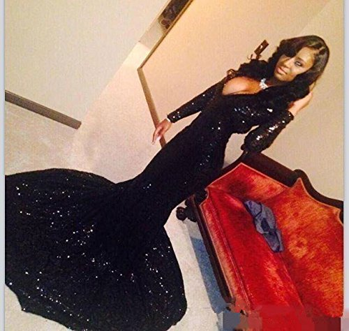 f528dc1c3594 Home/Brands/Little PrettyDress/Sexy Women's Bling Long Sleeve Sequins  Mermaid Prom Dresses Evening Gowns Formal Party Dresses (Black, 2). ; 