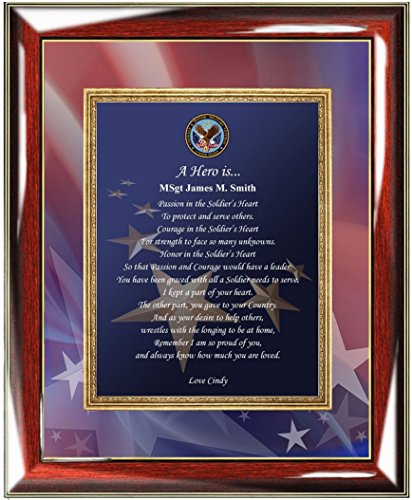 Award Tabletop Plaque (Military Plaque Retirement Service Award Personalized Poem Custom Wall Frame Marine Corps Soldier US Navy Air Force USAF USMC USAF USCG Coast Guard Military Homecoming Going Away)