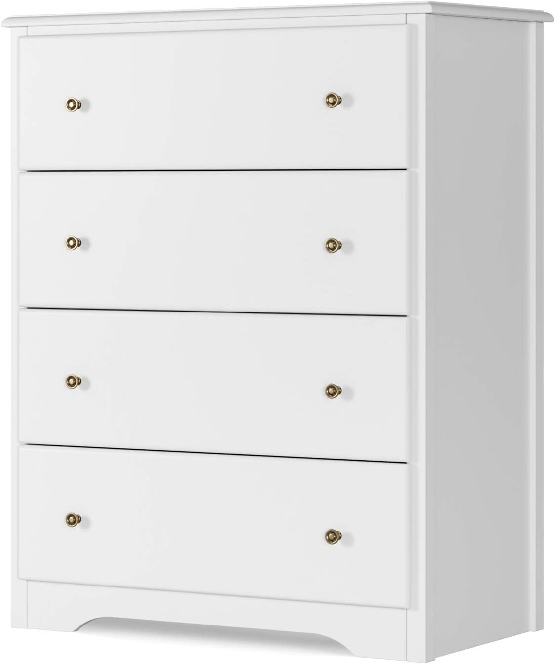 HOMECHO Dresser with 4 Drawers, Modern Chest of Drawers White, Dresser Chest with Wide Storage Space, Functional Organizer with Solid Wood Frame for Bedroom, Living Room, Closet, Entryway, Hallway