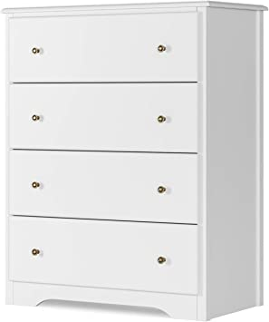 Amazon Com Homecho Dresser With 4 Drawers Modern Chest Of Drawers White Dresser Chest With Wide Storage Space Functional Organizer With Solid Wood Frame For Bedroom Living Room Closet Entryway Hallway Kitchen