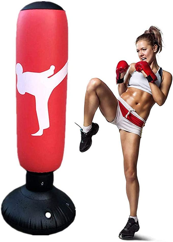 Generic Brand - Saco de boxeo de pie para niños y adultos, saco de boxeo de pie, saco de boxeo de pie, columna de boxeo hinchable para niños y adultos, para practicar MMA, karate, taekwondo