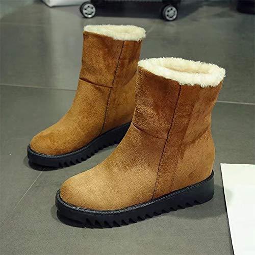 IWxez Niedriger Damen Schneestiefel PU (Polyurethan) Winter Casual Stiefel Niedriger IWxez Absatz Mitte der Wade Stiefel Schwarz Gelb Kamel 17a1d4