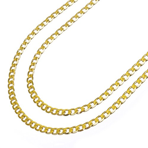 Men's 14K Yellow Gold Plated 6 mm Cuban Double Chain Necklace 22