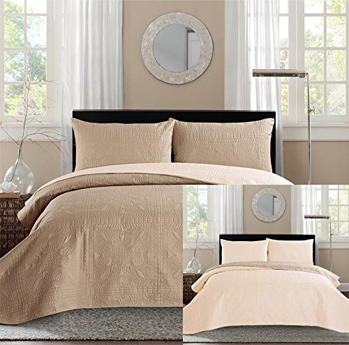 New King Bed Luxury 3 Piece Taupe Beige Reversible