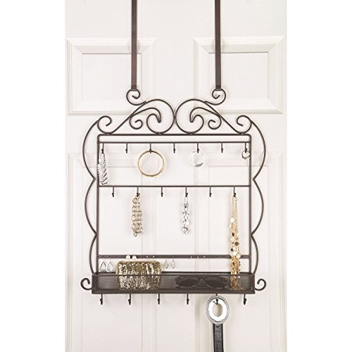 Large Decorative Hanging Over The Door Jewelry, Belt Organizer, 19 Hooks, Bronze