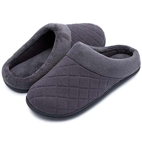 Lining House Clog New Foam and Comfort Gray Slip Men's Quilted Style Shoes House Slippers Memory Fleece On Women's Dark Zq0n7xwxO