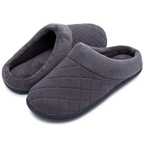 HomeTop Männer Hausschuhe Komfort Wattierte Grau