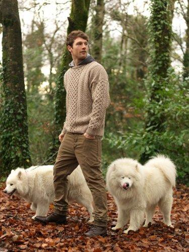 Irish Fisherman Sweater 100% Merino Wool Natural Unisex I...
