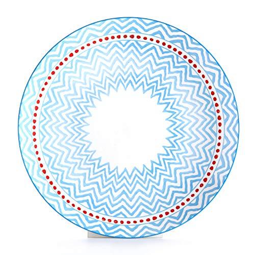 Porcelain Blue Light (6 Piece Porcelain Dinner Plates Set for Pasta, 10.3 Inch, Microwave Safe - Light Blue)