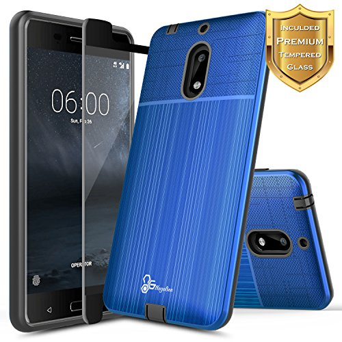 NageBee [Brushed] Case Compatible with Nokia 6 (5.5) - [Not Fit Nokia 6.1 2018] w/[Full Cover Tempered Glass Screen Protector] Premium Heavy Duty Defender Dual Layer Protector Case - (Blue)