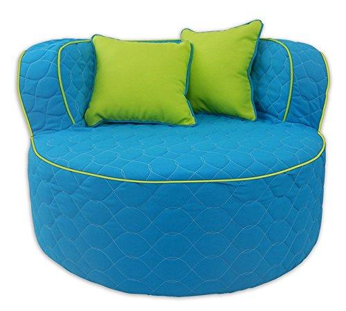 Fun Furnishings 95722 Throw Back Chair, Aqua/Lime