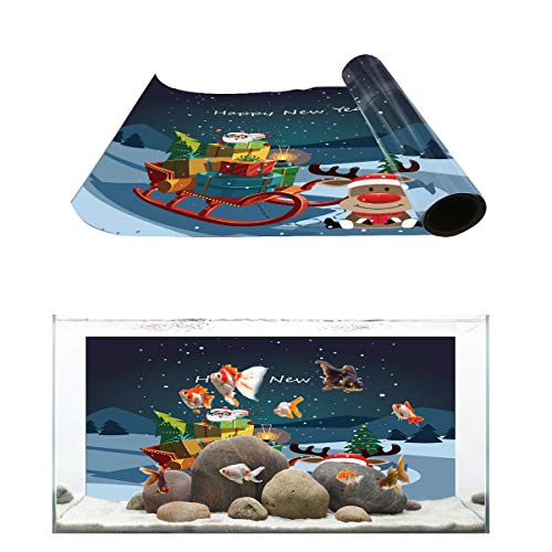 Fantasy Star Aquarium Background Hapy New Year Presents Cart Fish Tank Wallpaper Easy to Apply and Remove PVC Sticker Pictures Poster Background Decoration 24.4