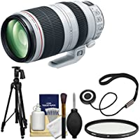 Canon EF 100-400mm f/4.5-5.6 L IS II USM Telephoto Zoom Lens with Hoya Multi-Coated UV Filter + Pistol Grip Tripod + Kit for EOS & Rebel DSLR Cameras