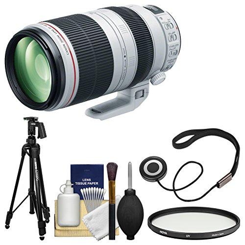 Canon EF 100-400mm f/4.5-5.6 L IS II USM Telephoto Zoom Lens with Hoya Multi-Coated UV Filter + Pistol Grip Tripod + Kit for EOS & Rebel DSLR Cameras