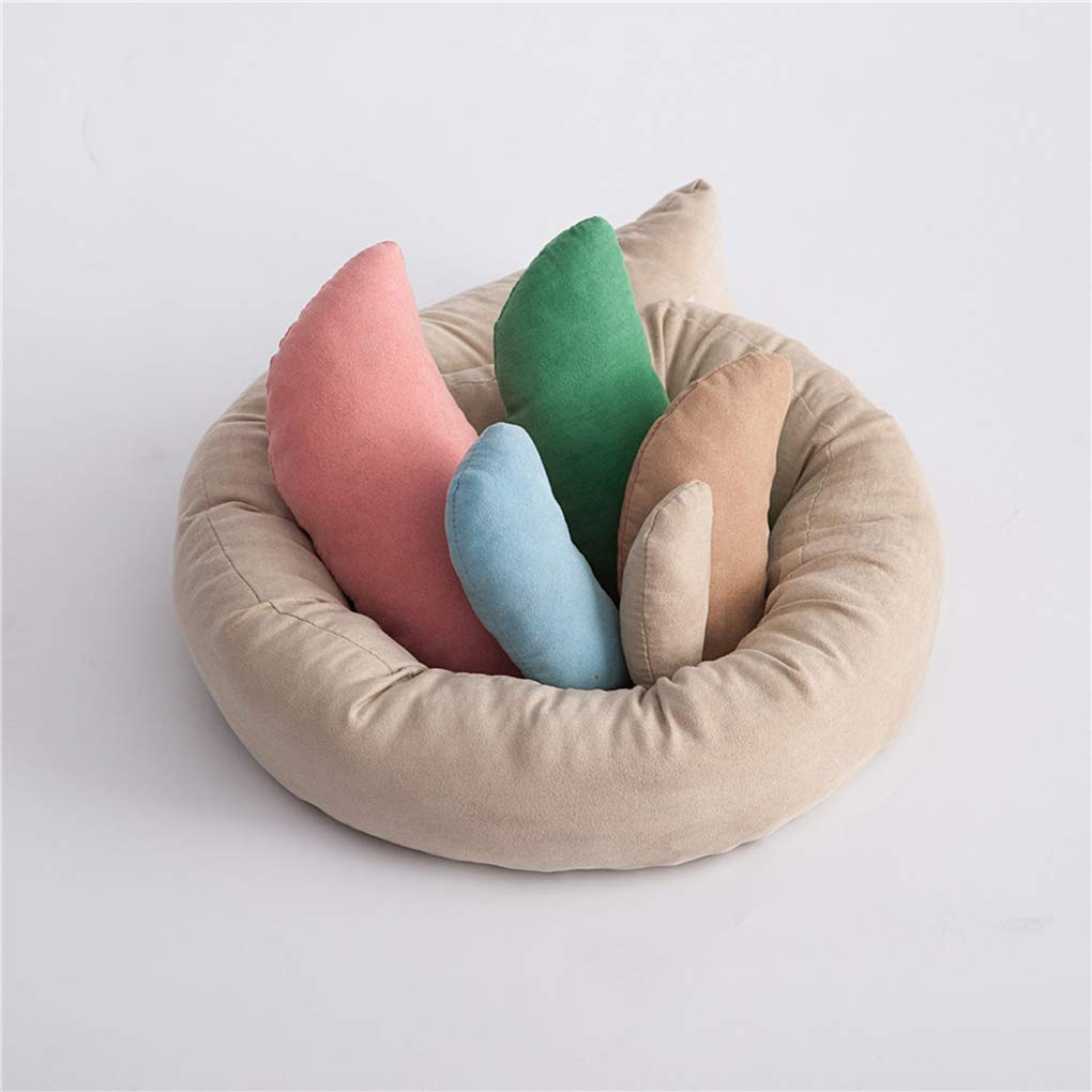 heacker 6pcs Neugeborenes Baby-Foto-Props Mond Kissen Filler-Stick Weizen Donut Posing Props Baby-Kissen
